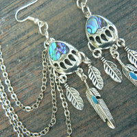 bear claw ear cuff SET Turquoise feather chained ear cuff SET tribal inspired