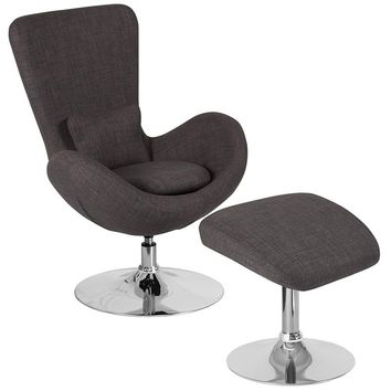 Egg Series Dark Gray Fabric Side Reception Chair with Ottoman [CH-162430-CO-DKGY-FAB-GG]