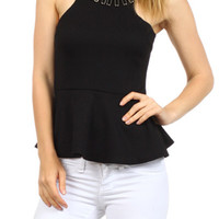 Necklace Detail Peplum Top - Black