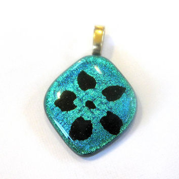 Dichroic Glass Pendant Large Gold Bail Fan Dance by mysassyglass