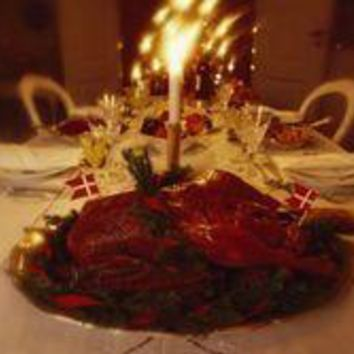 A Roasted Goose Adorns A Danish Christmas Dinner Table