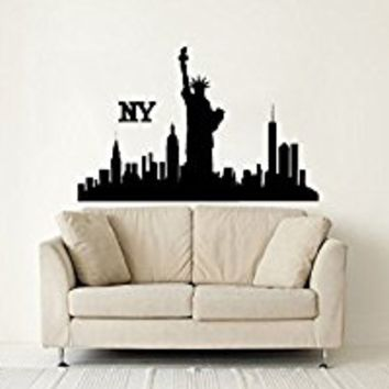 Wall Decal Vinyl Sticker Decals Art Decor Design Skyline NYC New York City Statue Of Liberty Sign Shadow USA Bedroom Living Room (r1347)