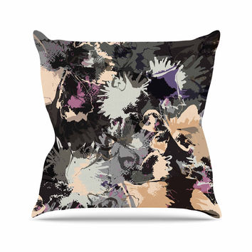 "Jessica Wilde ""Punk Floral"" Black Purple Throw Pillow"
