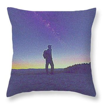 The Milky Way  The Blood Moon And The Explorer By Adam Asar 6m - Throw Pillow