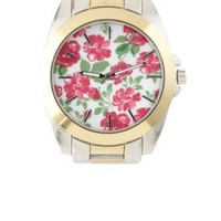 Oversized Floral-Faced Boyfriend Watch