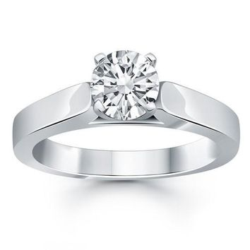 14K White Gold Wide Cathedral Solitaire Engagement Ring, size 6.5