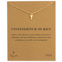 confidence is key cute key necklace, gold dipped, 16 inch