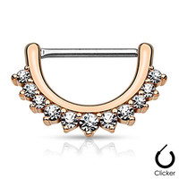 """Pair Body Jewelry 14ga (1.6mm) 1/2""""(12mm) Nipple Bar Clicker Ring or Barbell CZ Paved Curve Rose Gold over 316l Surgical Steel"""