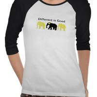 Dainty Elephants Shirt w/ Different is Good from Zazzle.com
