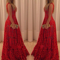 Red Sleeveless Lace Summer Dress