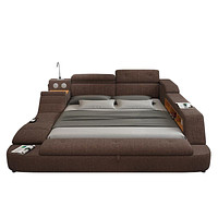 Multifunction Soft  Fabric Bed Frame Furniture With Speaker Massage And Storage Box
