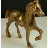 Brass Horse Figurine, Vintage Kids Toy, Western and Equestrian Vintage Decor