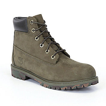 "Timberland Boys' 6"" Classic Waterproof Boots - Olive/Camo"