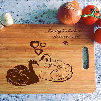 ikb493 Personalized Cutting Board Wood wooden wedding gift anniversary date names birds swans