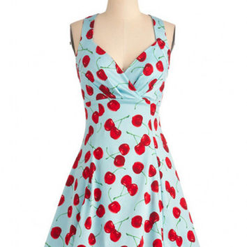 Blue Cherry Print Sleeveless Deep V-Neck Strappy A-line Pleated Mini Dress