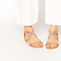 New Look Hideout Coral Beaded Flat Sandals