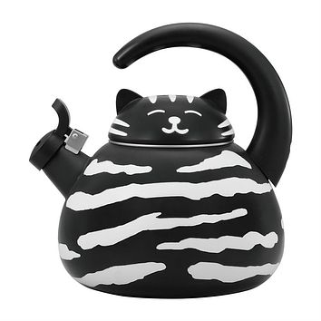 Black and White Cat Whistling Tea Kettle