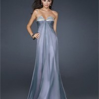 A-line Strapless V-neck Cut Out with Stones Floor Length Chiffon Prom Dress PD2119 Dresses UK