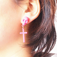 cute skull cross ear studs earrings gold black pink earring handmade earrings without ear hole personalized bridesmaid love best friend gift