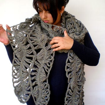 TaupeGrey Lace Scarf Hand Crochet  Log Woman Trendy Chunky yarn Scarf NEW