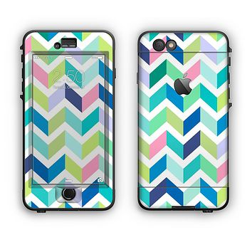 The Fun Colored Vector Segmented Chevron Pattern Apple iPhone 6 Plus LifeProof Nuud Case Skin Set