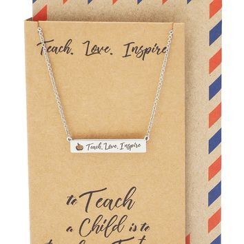 Summer Engraved Bar Necklace, Gifts for Teacher Appreciation, comes with Inspirational Quote