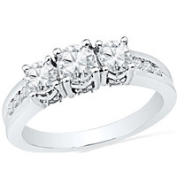 1 CT. T.W. Diamond Three Stone Engagement Ring in 10K White Gold - View All Rings - Zales