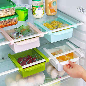 Slide Fridge Storage Rake Freezer Food Storage Boxes Pantry Storage Organizer Bins Container Space-saving Fridge Storage Box