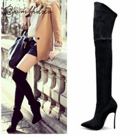 2017 Autumn Winter Women Boots Stretch Slim Thigh High Boots Fashion Over the Knee Boots High Heels Shoes Woman Sapatos