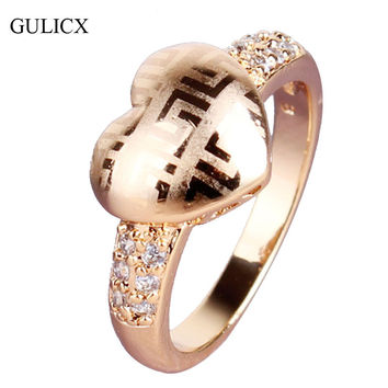 GULICX Fashion Design Finger Ring Gold Plated Heart Love Ring Unique Crystal Cubic Zirconia Engagement Rings For Women R035