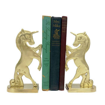 Brass Unicorn Bookends Set Vintage Matching Pair Gold Home Office Library Kids Nursery Room Bookshelf Decor Bibliophile Gift Book Lovers