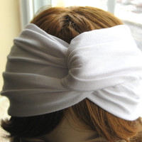 Classic White Stretchy Pima Cotton Twist Turban Head Wrap, Womens Yoga Head Band, Knot Headwrap, Turband, Twisted Headband, Hair Accessories