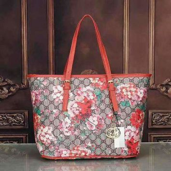 DCCKN6V Gucci Women Leather Flower Print Shopping Tote Handbag Shoulder Bag G-LLBPFSH