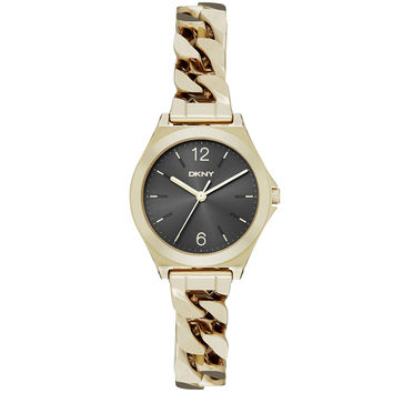 DKNY - Ladies' Parsons Yellow Gold-Plated Chain Bracelet Watch NY2425
