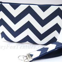 Navy Blue chevron clutch, cosmetic case, zipper pouch, makeup bag, toiletry case, travel bag