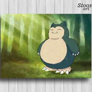 snorlax pokemon poster anime print pokemon room decor pokemon art