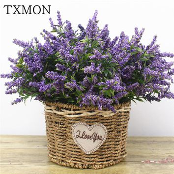 1 Bunch Foam Flower Lavender Artificial Flower Bouquet For Home Wedding Decoration Fake Flower Party Birthday Decor