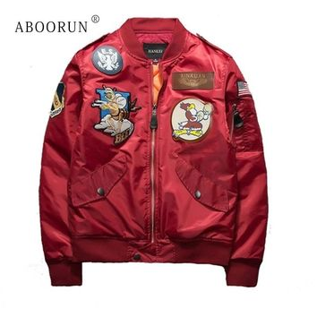 Dropshipping Suppliers Usa ABOORUN New Mens Bomber Jacket Air Force Pilot Jacket Thick Wint Windbreaker  Army Green Black W2232