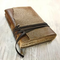 The Manuscript - Leather Journal, Notebook, Diary in Brown Vintage Style Cover and Old Aged Paper