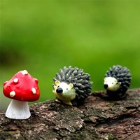 Zero Mossfairy Miniature Ornament Hedgehog Mushroom Set Decor Fairy Garden