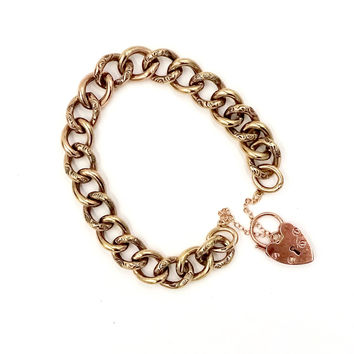Antique 9K ROSE GOLD HEART LOCK CHARM CLASP CURB LINK CHARM BRACELET