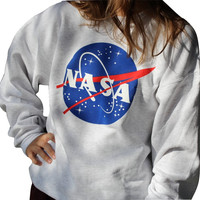 NASA Printed Pullover Loose Long Sleeve Grey Sweater Sweatshirt Dress