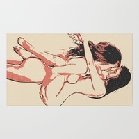 Girls love to play naughty - sexy conte 2, erotic nude lesbian girls, dirty bedroom games, gay art Rug by Casemiro Arts - Peter Reiss
