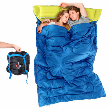 Double Sleeping Bag Camping Hiking Warm With 2 Pillows Carrying Bag NEW Stock in US