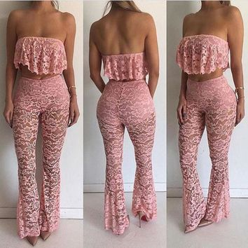 Strapless Ruffles Lace Crop Top with Transparent Skinny Pants Two Pieces Set