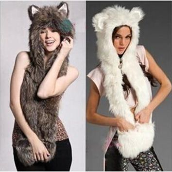 New Fashion Faux Fur Animal Hat With Long Scarf  hat Wolf Fur Hat With Paws Beanies Cap Winter Cartoon Hat  High Quality