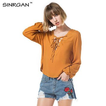 SINRGAN Women Chiffon Blouse Autumn Long Sleeve Lace Up Solid Tops Femme Casual Deep V-Neck Shirts