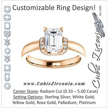 Cubic Zirconia Engagement Ring- The Jennifer Elena (Customizable Radiant Cut featuring Saddle-shaped Under Halo)