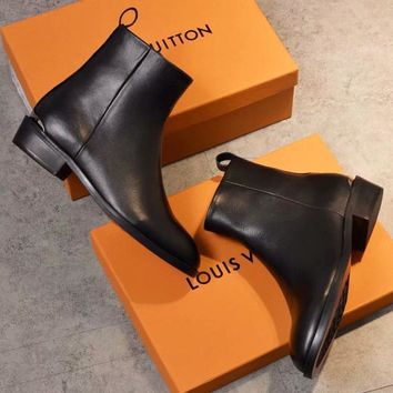 LV Louis Vuitton Women Heels Shoes Cowhide and inner lambskin / bicolor rubber outsole Boots