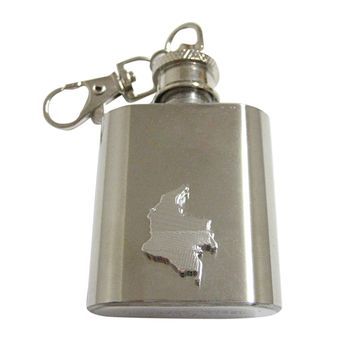 Colombia Map Shape and Flag Design 1 Oz. Stainless Steel Key Chain Flask